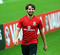 Joe Allen warms up during the Wales Training Session at the Vale Resort, Hensol, Wales, UK. Tuesday 29 August 2017