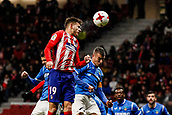 9th January 2018, Wanda Metropolitano, Madrid, Spain; Copa del Rey football, round of 16, second leg, Atletico Madrid versus Lleida; Lucas Hernandez Pi (Atletico de Madrid)wins the header in the box