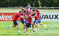 Harry Kane (Tottenham Hotspur) & Adam Lallana (Liverpool) of England train with teammates during an open England football team training session at Stade Omnisport, Croissy sur Seine, France  on 12 June 2017 ahead of England's friendly International game against France on 13 June 2017. Photo by David Horn/PRiME Media Images.