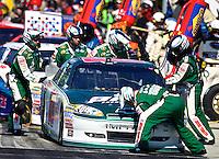 Dale Earnhardt Jr. makes a pit stop during the Daytona 500, Daytona International Speedway, Daytona beach, Florida, February 20, 2011.  (Photo by Brian Cleary/www.bcpix.com)