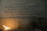 Pictured: Text describing areas that Greek soldiers have fallen on the steps of the Parliament Thursday 18 May 2017<br /> Re: Clashes between anti fourth memorandum protesters and riot police in front of the Parliament building in Syntagma Square, Athens, Greece