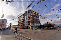 The historic 1912 Lee Building on the corner of East Broadway street and Main Street in the  Mount Pleasant district of Vancouver, BC, Canada