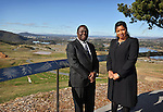 AUSTRALIA, Canberra : Zimbabwean Prime Minister Morgan Tsvangirai (L) and Elizabeth Tsvangirai (R) visit the National Arboretum in Canberra on July 23, 2012. AFP PHOTO / Mark GRAHAM