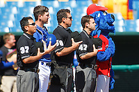 Royals Mascott and the umpires pay tribute May 5th, 2010; Oklahoma CIty Redhawks vs Omaha Royals at historic Rosenblatt Stadium in Omaha Nebraska.  Photo by: William Purnell/Four Seam Images