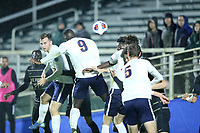 CARY, NC - DECEMBER 13: Daryl Dike #9 of University of Virginia heads home his second goal during a game between Wake Forest and Virginia at Sahlen's Stadium at WakeMed Soccer Park on December 13, 2019 in Cary, North Carolina.