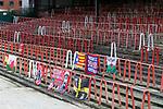 Wrexham 2 Ebbsfleet United 0, 18/11/2017. The Racecourse Ground, National League. Wrexham banners in the the Kop end of the Racecourse Ground. Photo by Paul Thompson.
