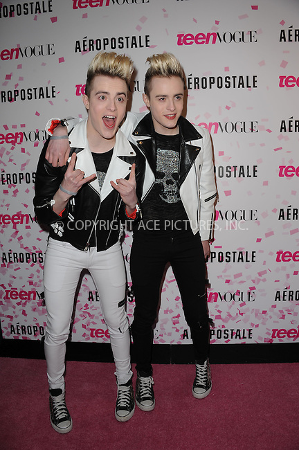 WWW.ACEPIXS.COM . . . . . .February 7, 2013...New York City....Jedward attends the Teen Vogue celebration of Chloe Grace Moretz's sweet 16 & the magazine's 10th Anniversary with birthday bash at Aéropostale in Times Square on February 7, 2013 in New York City ....Please byline: KRISTIN CALLAHAN - ACEPIXS.COM.. . . . . . ..Ace Pictures, Inc: ..tel: (212) 243 8787 or (646) 769 0430..e-mail: info@acepixs.com..web: http://www.acepixs.com .