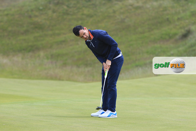 Paul Coughlan (Castleknock) on the 4th green during Round 1 of the The Amateur Championship 2019 at The Island Golf Club, Co. Dublin on Monday 17th June 2019.<br /> Picture:  Thos Caffrey / Golffile<br /> <br /> All photo usage must carry mandatory copyright credit (© Golffile | Thos Caffrey)
