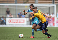 Nick Freeman of Wycombe Wanderers holds off Mark Nisbet of Slough Town during the pre season friendly match between Slough Town and Wycombe Wanderers at Arbour Park Stadium, Slough, England on 8 July 2017. Photo by Andy Rowland.