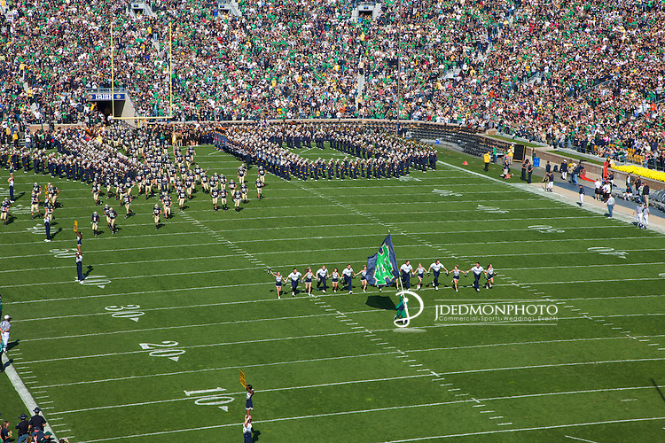 The Irish Guard, Fighting Irish Band lead the Fighting Irish onto the field.