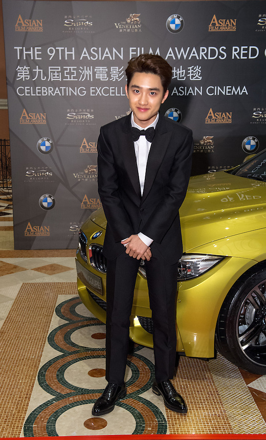 DOH Kyung-soo from Korea nominated for best newcomer arrives at the 9th Asian Film awards at the Venetian Macau 25.03.15. 25th March 2015.