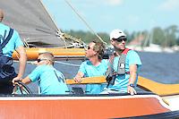 SKÛTSJESILEN: GROU: 18-07-2015, SKS kampioenschap 2015, Skûtsje Klaas van der Meulen (Woudsend) tijdens de openingswedstrijd, schipper Teake Klaas van der Meulen, ©foto Martin de Jong
