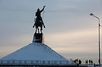 A monument to Bashkir national hero Salavat Yulayev stands above Ufa, Bashkortostan, Russia.