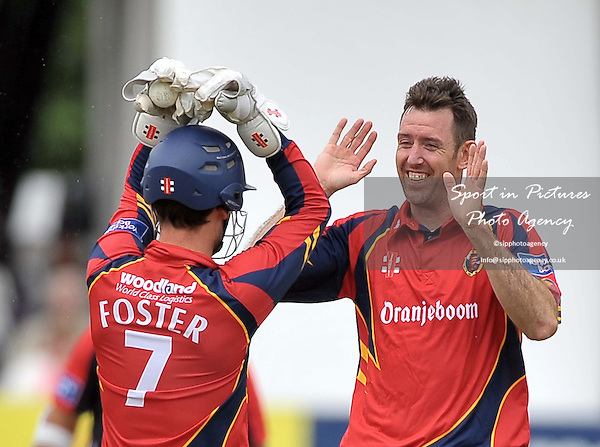 David Masters (Essex, right) celebrates taking the wicket of Stephen Moore (Lancashire) with James Foster (Essex, wicketkeeper and Captain) .  Essex V Lancashire. Yorkshire Bank 40. The Essex County Ground (ECG). Chelmsford. Essex. 16/06/2013. MANDATORY Credit Garry Bowden/Sportinpictures - NO UNAUTHORISED USE - 07837 394578