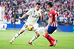 Angel Martin Correa of Atletico de Madrid and Sergio Reguilon of Real Madrid during La Liga match between Atletico de Madrid and Real Madrid at Wanda Metropolitano in Madrid Spain. February 09, 2018. (ALTERPHOTOS/Borja B.Hojas)