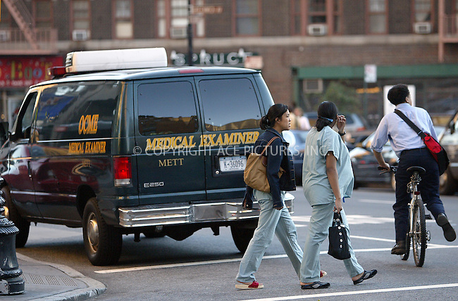 PEDESTRIANS PASSING BY THE MEDICAL EXAMINER VAN PARKED OUTSIDE ST. VINCENT'S HOSPITAL WITH BODY OF ERIC DOUGLAS INSIDE. NEW YORK, JULY 6, 2004.....Eric Douglas, who is one of the sons of actor Kirk Douglas, and half brother of actor Michael Douglas, has been found dead in his apartment located at 10 East 29th Street in Kips Bay. ....The body was found in the apartment at about 1:15 Tuesday afternoon, on the floor of 14C. Police say the man was found unconcious on the living room floor. ....Officially the cause of death has not been released, however sources are telling Eyewitness News that it may have been an overdose. The medical examiner will be performing an autopsy.....Eric Douglas had battled drug and alcohol problems for years. Though not as famous as his father or half-brother Michael, Eric Douglas made his share of headlines -- unfortunately, they almost exclusively involved arrests. His rap sheet included busts for allegedly driving under the influence, disrupting a commercial airline flight and harassing a 12-year-old girl at a Connecticut psychiatric and substance-abuse hospital, a charge which he was found innocent of during a jury trial.....Please byline: FLANNERY; SOKALNER/ACE Pictures.   .. *** ***  ..All Celebrity Entertainment, Inc:  ..contact: Alecsey Boldeskul (646) 267-6913 ..Philip Vaughan (646) 769-0430..e-mail: info@nyphotopress.com