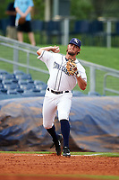 Charlotte Stone Crabs third baseman Jim Haley (38) throws to first base during the first game of a doubleheader against the Tampa Yankees on July 18, 2017 at Charlotte Sports Park in Port Charlotte, Florida.  Charlotte defeated Tampa 7-0 in a game that was originally started on June 29th but called to inclement weather.  (Mike Janes/Four Seam Images)