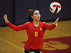 Kaitlynn D'Angelo #8 of Sacred Heart Academy serves during the second set of a CHSAA varsity girls volleyball match against host St. John the Baptist High School in West Islip on Thursday, Oct. 12, 2017. Sacred Heart won the match 3-0.