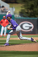 LSU Tigers starting pitcher Cole Henry (18) delivers a pitch to the plate against the Georgia Bulldogs at Foley Field on March 23, 2019 in Athens, Georgia. The Bulldogs defeated the Tigers 2-0. (Brian Westerholt/Four Seam Images)