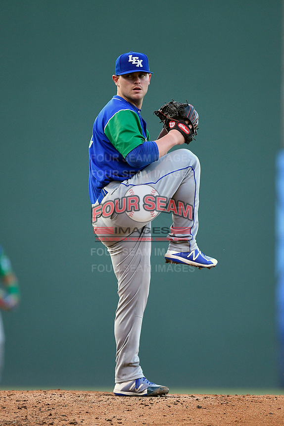 Starting pitcher J.C. Cloney (21) of the Lexington Legends delivers a pitch during a game against the Greenville Drive on Saturday, September 1, 2018, at Fluor Field at the West End in Greenville, South Carolina. Greenville won, 9-6. (Tom Priddy/Four Seam Images)