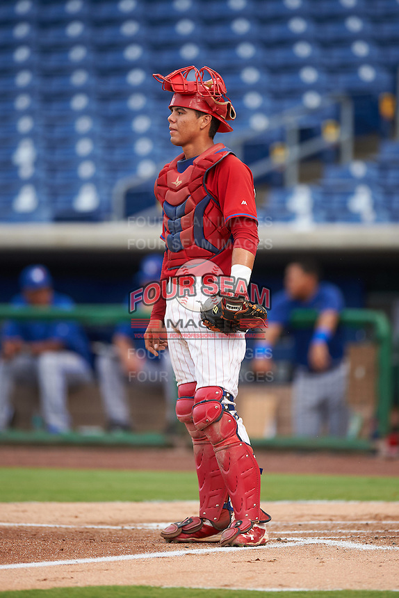 GCL Phillies catcher Nerluis Martinez (11) during a game against the GCL Blue Jays on August 16, 2016 at Bright House Field in Clearwater, Florida.  GCL Blue Jays defeated GCL Phillies 2-1.  (Mike Janes/Four Seam Images)