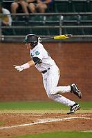 Stetson Hatters right fielder John Fussell (12) at bat during a game against the Siena Saints on February 23, 2016 at Melching Field at Conrad Park in DeLand, Florida.  Stetson defeated Siena 5-3.  (Mike Janes/Four Seam Images)