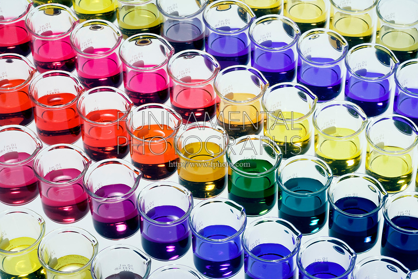 ARRAY OF pH INDICATORS<br /> 7 Indicators In Beakers With pH from 1-10<br /> Indicators (Top to Bottom) are Thymol blue, Bromophenol blue, Methyl red, Universal, Resazurin, Bromocresol purple &amp; Phenolphthalein.   greatest hydrogen ion concentration &amp; pH of 1