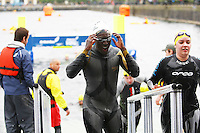 PICTURE BY VAUGHN RIDLEY/SWPIX.COM...Swimming - British Gas Great Salford Swim 2011- Salford Quays, Manchester, England - 15/05/11...Blue Peter's Andy Akinwolere.
