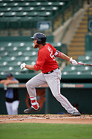 Boston Red Sox Trey Ball (57) follows through on a swing during a Florida Instructional League game against the Baltimore Orioles on October 8, 2018 at the Ed Smith Stadium in Sarasota, Florida.  (Mike Janes/Four Seam Images)