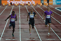 Jimmy VICAUT of France (100m) wins his Heat during the Sainsburys Anniversary Games Athletics Event at the Olympic Park, London, England on 24 July 2015. Photo by Andy Rowland.