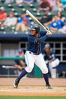 Northwest Arkansas Naturals designated hitter Samir Duenez (9) at bat during a game against the Midland RockHounds on May 27, 2017 at Arvest Ballpark in Springdale, Arkansas.  NW Arkansas defeated Midland 3-2.  (Mike Janes/Four Seam Images)