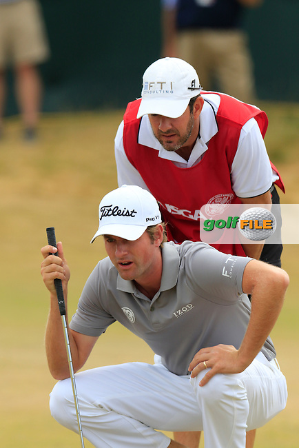 Webb SIMPSON (USA) and caddy Paul Tesori line up his putt on the 17th green during Thursday's Round 1 of the 2015 U.S. Open 115th National Championship held at Chambers Bay, Seattle, Washington, USA. 6/18/2015.<br /> Picture: Golffile | Eoin Clarke<br /> <br /> <br /> <br /> <br /> All photo usage must carry mandatory copyright credit (&copy; Golffile | Eoin Clarke)