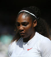 Serena Williams (USA) during her victory against Camila Giorgi (ITA) in their Ladies' Quarter Final match<br /> <br /> Photographer Rob Newell/CameraSport<br /> <br /> Wimbledon Lawn Tennis Championships - Day 8 - Tuesday 10th July 2018 -  All England Lawn Tennis and Croquet Club - Wimbledon - London - England<br /> <br /> World Copyright &Acirc;&copy; 2017 CameraSport. All rights reserved. 43 Linden Ave. Countesthorpe. Leicester. England. LE8 5PG - Tel: +44 (0) 116 277 4147 - admin@camerasport.com - www.camerasport.com
