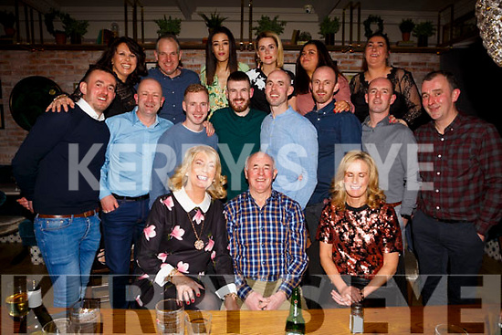 Stephanie and Paddy O'Shea of Tralee, seated first and centre, celebrating their 50th Wedding Anniversary with family and friends on Saturday night in the Ashe Hotel.