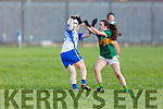 Kerrry's defender Ciara O'Brien putting pressure on Shauna Dunphy of Waterford in the LGFA National football league in Strand Road on Saturday.