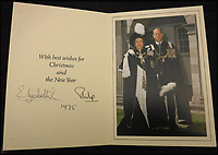 BNPS.co.uk (01202 558833)<br /> Pic: MooreAllen&amp;Innocent/BNPS<br /> <br /> The Queen and Prince Philip's 1975 card.<br /> <br /> A comprehensive collection of Christmas cards sent by the Queen and Prince Philip over a 30 year period have emerged to highlight the fascinating changes of the Royal Family.<br /> <br /> The 31 greetings cards carry various images of the Royal couple on the front along with different members of their family.<br /> <br /> They were sent every year without fail from 1971 through to 2001 to the unnamed recipient, who was clearly an acquaintance of the Queen.<br /> <br /> The first card features a formal photograph of the Queen, the Duke of Edinburgh, a 23-year-old Prince Charles, Princess Anne, Prince Andrew, aged 11 and seven-year-old Prince Edward.<br /> <br /> They are being sold in Cirencester on Friday.