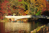 Nov. 12, 2010 - New York City, NY - Boaters paddle near the Bow Bridge in Central Park  in New York City November 12, 2010. (Photo by Alan Greth)