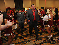 NWA Democrat-Gazette/ANDY SHUPE<br /> Arkansas coach Bielema leads his team Friday, Aug. 18, 2017, into the room during the Kickoff Luncheon at the Northwest Arkansas Convention Center in Springdale. Visit nwadg.com/photos to see more photographs from the luncheon.