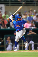 Midland RockHounds shortstop Franklin Barreto (10) at bat during a game against the San Antonio Missions on April 21, 2016 at Nelson W. Wolff Municipal Stadium in San Antonio, Texas.  Midland defeated San Antonio 9-2.  (Mike Janes/Four Seam Images)