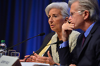 Washington, DC - April 14, 2016: Christine Lagarde (c), Managing Director of the International Monetary Fund, prepares to speak to members of the media during a press availability at the IMF headquarters in the District of Columbia, April 14, 2016, Gerry Rice, IMF Communications Director, looks on (Photo by Don Baxter/Media Images International)