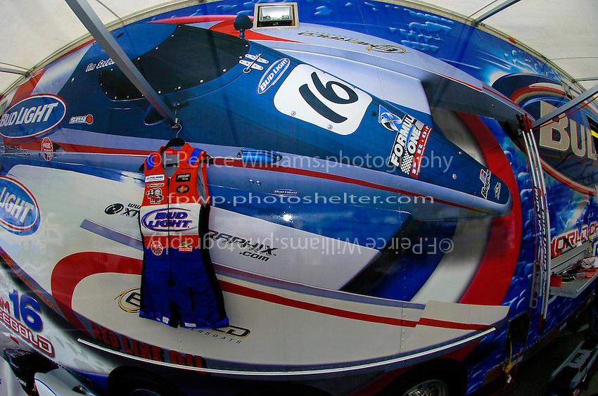 Tim Seebold's capsule jacket hangs outside his trailer.    (Formula 1/F1/Champ class)