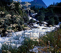 Water gushing white from waterfall in Gerainger Fjord Norway 1975