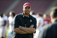 STANFORD, CA- April 13, 2013- The Stanford Cardinal and Whites Spring Game. Head Coach David Shaw during the Cardinal and White spring game. <br /> <br /> isiphotos.com