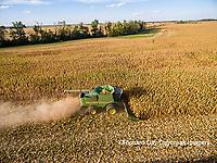 63801-08408 Corn Harvest, John Deere combine harvesting corn - aerial Marion Co. IL