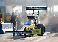 Oct 18, 2019; Ennis, TX, USA; NHRA top fuel driver Leah Pritchett during qualifying for the Fall Nationals at the Texas Motorplex. Mandatory Credit: Mark J. Rebilas-USA TODAY Sports