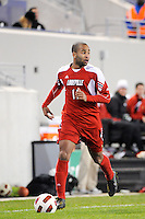 Aaron Horton (11) of the Louisville Cardinals. The Louisville Cardinals defeated the Notre Dame Fighting Irish 1-0 during the semi-finals of the Big East Men's Soccer Championship at Red Bull Arena in Harrison, NJ, on November 12, 2010.