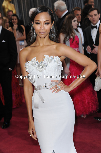 Zoe Saldana_ 81 arriving at the 85th Academy Awards 2013 - Oscars - at the Dolby Theatre in Los Angeles.