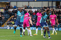 Adebayo Akinfenwa of Wycombe Wanderers & Anthony Stewart of Wycombe Wanderers rue a missed opportunity  during the Sky Bet League 2 match between Wycombe Wanderers and Hartlepool United at Adams Park, High Wycombe, England on 26 November 2016. Photo by Andy Rowland.