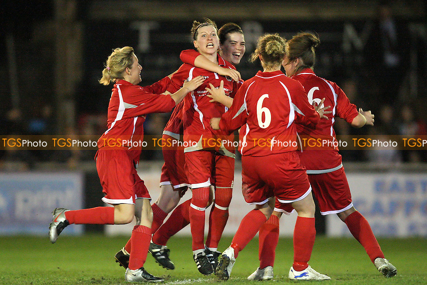 Hutton celebrate their goal - Hutton vs West Ham United - Essex FA Womens Cup Final at AFC Hornchurch - 08/04/11 - MANDATORY CREDIT: Gavin Ellis/TGSPHOTO - Self billing applies where appropriate - Tel: 0845 094 6026