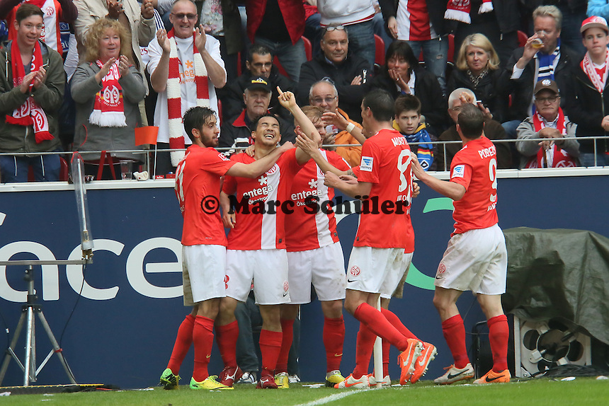 Shinji Okazaki (Mainz) erzielt das 3:1 und jubelt - 1. FSV Mainz 05 vs. Hamburger SV, Coface Arena, 34. Spieltag